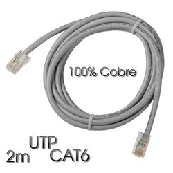 Cable Cromad de red UTP CAT 6 2M Gris Claro 100% COBRE - CR0524